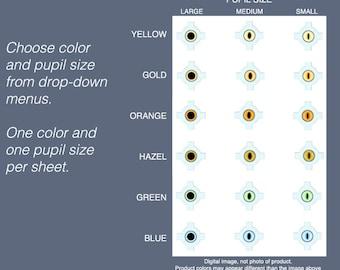 Cat Eyes your Choice: One Size Mini Eyes, 2mm, 3mm, 4mm.  Blue, green, hazel, orange, yellow, gold.  Flat eyeballs