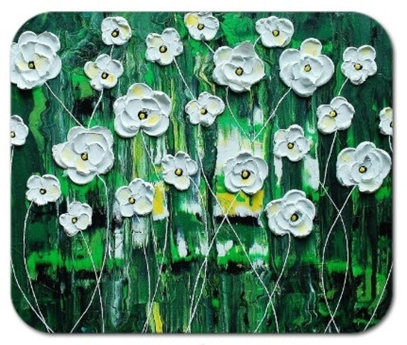 Mousepad Mouse Pad Fine Art Painting Emerald Rain Blossoms Green White Impasto Texture 3d