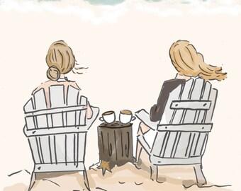 Beach Friendship Art  Coffee Art- Summer - Art for Beach Houses - Art for Women - Inspirational Art