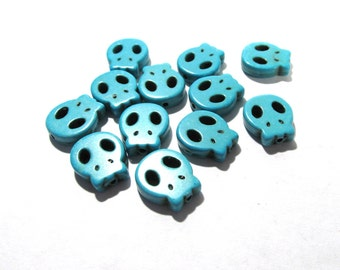 Turquoise Skull Beads Dyed Howlite SKULL Flat Beads Twenty Four (24) 15mm Magnesite Turquoise Skulls DOD Halloween Jewelry Supplies (S81)