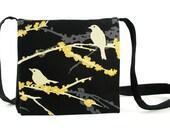 Black crossbody purse - womens handmade handbag - small purse - bird purse - flower bag - long strap - small crossbody bag - MADE TO ORDER