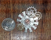 Steampunk Cogs Brooch Pin Steel, Floral Embossed Steel, Copper, Brass