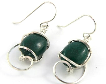 Custom Gemstone Cabochon Wire Sculpted Earrings