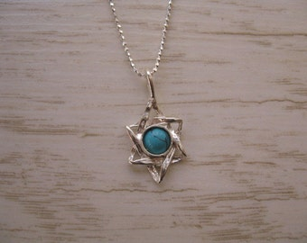 Dainty Star of David Necklace, Turquoise Star of David Pendant, Pretty Star, Simple Star of David Necklace Turquoise Pendant Sterling Silver