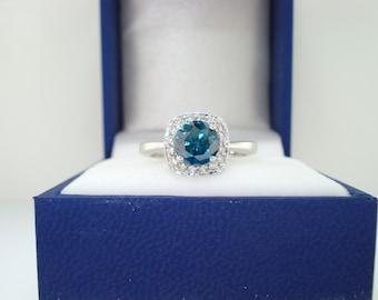 1.00 Carat Blue Diamond Engagement Ring 14K White Gold Certified HandMade Halo Ring