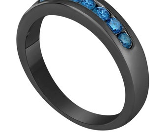 Wedding & Anniversary Blue Diamond Band Vintage Style 14K Black Gold 7 Stone Canal Set  0.38 Carat Handmade