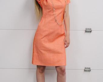 Vintage 1960's Orange/White Honey Comb Dress