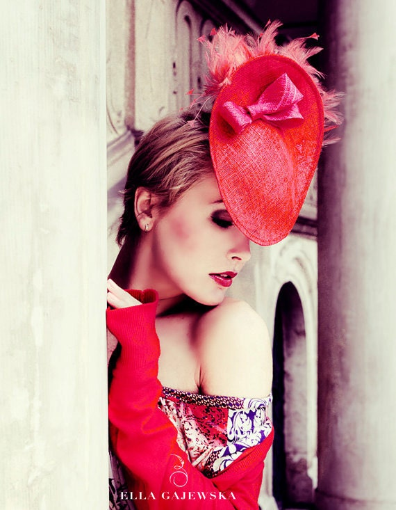 SALE Red Saucer Lightweight Hat - Ladies Cocktail Hat - Pink Bow - Red Colour Block Feathers - Wedding Headpiece - Fascinator
