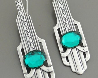 Art Deco Earrings - Silver Earrings - Emerald Earrings - May Birthstone Jewelry - Green Earrings - Vintage Earrings - handmade jewelry