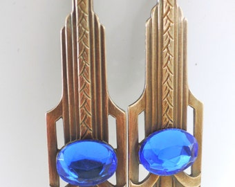 Vintage Earrings - Art Deco Earrings - Sapphire Blue Earrings - Brass Earrings - handmade jewelry