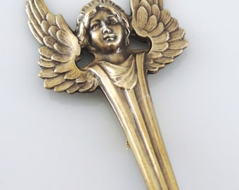 Vintage Brooch - Art Deco jewelry - Angel jewelry - Vintage Brass Jewelry - handmade jewelry