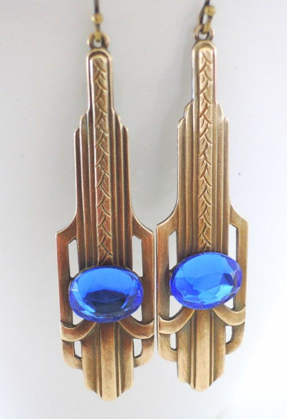 Vintage Earrings - Art Deco Earrings - Sapphire Blue Earrings - Brass Earrings - handmade jewelry