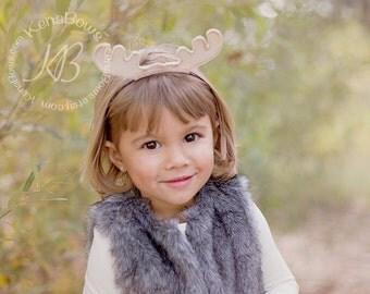 Moose Headband: Woodland Animal Headband, Moose Birthday Headband, Embroidered Felt Moose Antlers