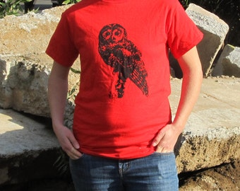 Owl Shirt - Northern Spotted Owl, on Red Tshirt, Small - silkscreen screenprint hoot owl top wise cascadia earth first nature cute
