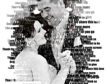 Custom Photo Gift Portrait On Canvas Text Art Word Art Wedding Vows Song Lyric Gift 16x20