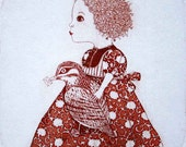 Etching / limited edition original etching (printmaking / graphic art) / original print / original art / bird etching - 'Girl and a Bird'