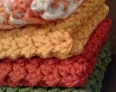 Set of 4 Autumn Crochet Cotton Dish Cloths