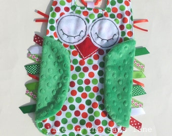 Christmas Stocking Stuffer Owl Ribbon Tag Blankie in Kaufman Remix Dots Holiday Fabric and Green Minky with Teething Ring Christmas Gift
