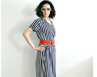 Vintage  Pierre Balmain  80s nautical shift dress  pull over midi resort wear  M L