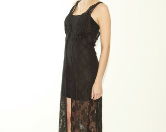 Black Lace Lingerie Slip Over Women's One Size Fits Most