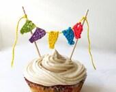 Birthday cake topper - kids party cupcake topper - 1st birthday cake topper - kids party decoration - bunting cake topper - crochet bunting