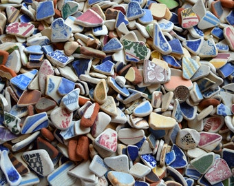 440g Bulk Order - Vintage Sea Worn Pottery Shards - Scottish Sea Pottery Mix - Job Lot - Mosaic -  (440)