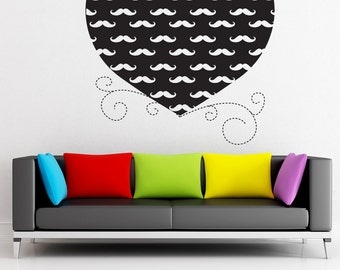 Vinyl Wall Decal Sticker Heart With Mustaches 1437m