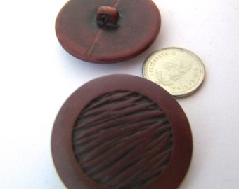 Maroon Vintage Buttons - 1950s  4 New Old Stock Buttons  - Plastic Shank/medium size 1 1/4 inch