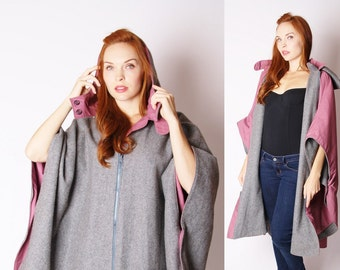 Gray Wool Cape  -  Gray Wool Cape  -  Vintage Pink Cape - 2868