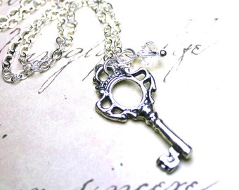 Silver Key Necklace - The Princess's Key Pendant in Crystal Moonlight - Sterling Silver and Swarovski Crystal