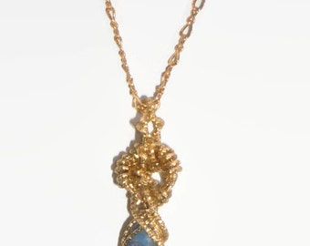 Natural 2.3ct Boulder Opal Necklace Wire Wrapped 14K Rolled Gold