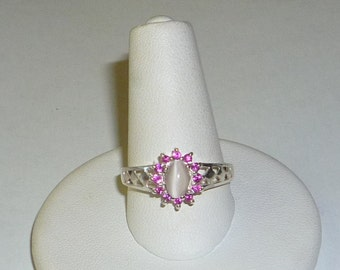 Natural Moonstone & Ruby Ring Sterling Silver .925