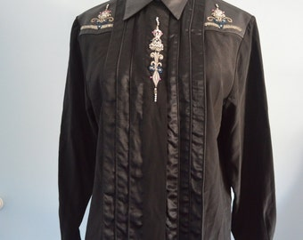 Vintage BOHO Chic Black Silk EREZ LEATHER Crystal Embroidery Shirt Blouse Button Down Long Sleeve Size 6