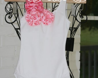 Pink Flower Girl Top, White Leotard, white top, Birthday outfit, flower girl shirt