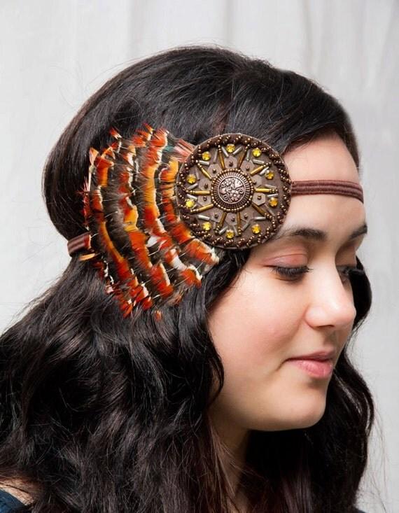 Orange Beaded Bohemian Feather Headband - gypsy, hippie, warrior, rust