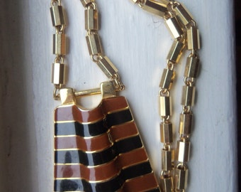 70s LANVIN Necklace--Signed--Two-Tone Enamel Pendant--Cleopatra--Egyptian