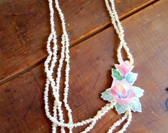 80s INLAID SHELL ROSES Necklace--Huge Off-Center Flower--Mother of Pearl--Carved Shell Beads--Four Strands