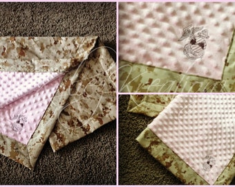 Custom Military Camo Baby blankets with MINKY!
