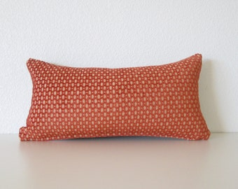 decorative pillow cover mini lumbar pillow 8x16 burnt orange velvet cut