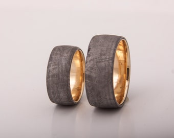meteorite gold  wedding rings set of 2 with gold band