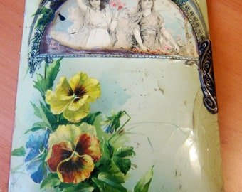 Antique Edwardian Album Cover in Decoupage / 1910s Art Nouveau 1900s Handmade Album Cover