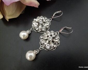 Bridal Earrings Ivory swarovski Pearls swarovski crystal Pearl Rhinestone Earrings Statement Bridal Earrings Pearl Bridal Earrings ALEXANDRA