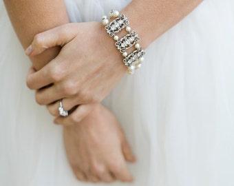 ivory swarovski pearl and crystal Bracelet Statement Bridal Bracelet Bridal Cuff Wedding Rhinestone Bracelet swarovski crystal FREDERICA
