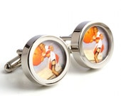 Vintage Pinup Cufflinks - Stockings in the Rain