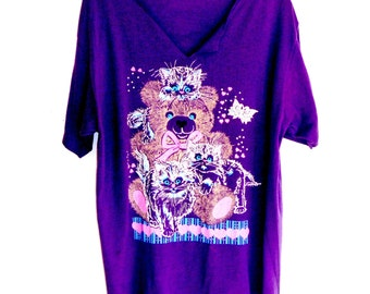 Vintage 80's Cats Shirt with 3 Kitties Playing on a Teddy Bear, Purple Cotton Tee