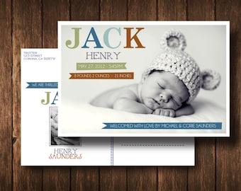 Jack Baby Announcement Photo Postcard