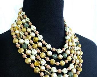 Chunky Multi Strand Bib Necklace- Jewel Tones, Boho, Statement Jewelry