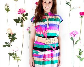 Tropical Popical, Vintage, 1970s Floral Stripe Print Midi Dress, from Paris