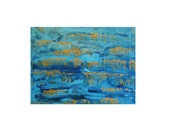 Reflections, Original Modern Art Textured Abstract Painting by Lisa Strassheim - Turquoise - Gold - Blue