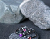 Gemstone Stacking Rings - Set of 3 - Mothers Ring - Sterling Silver Stacking Rings - Unique Stacking Rings - Unique Stackers - Gothic